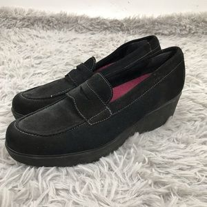 Munro l Katie Wedge Loafer Black Suede Shoes 8 N